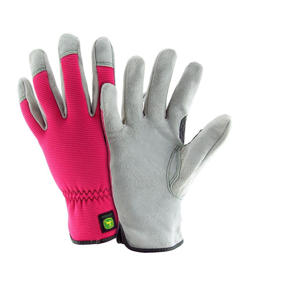 John Deere Split Cowhide Ladies Small Spandex Back Gloves-JD00016/WSM ...