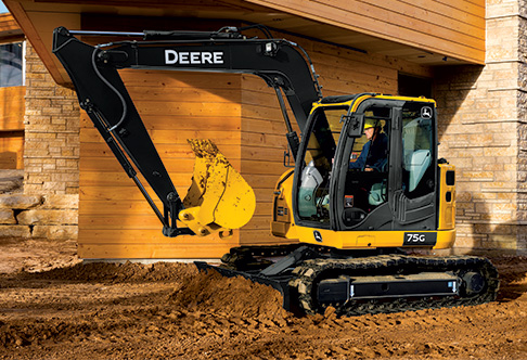 75G Excavator digging at a construction site