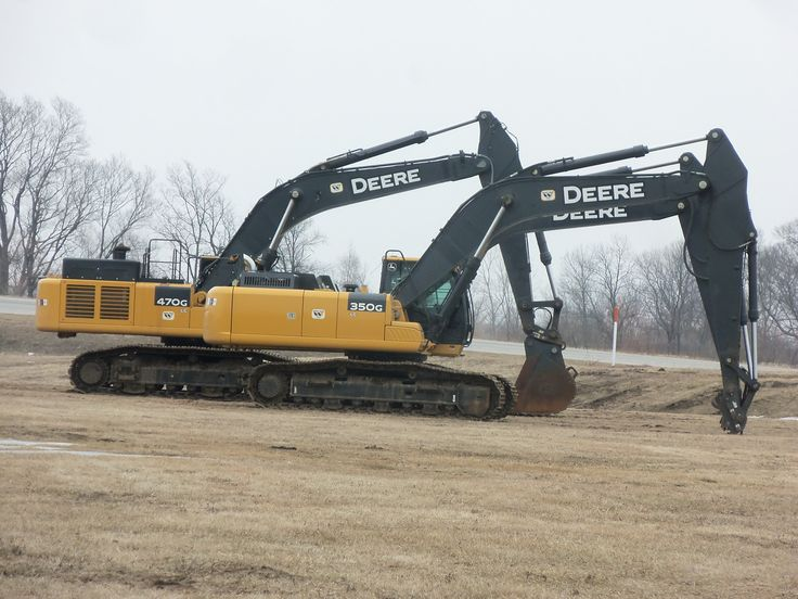 John Deere 350G LC in front of 470G LC hydraulic excavator