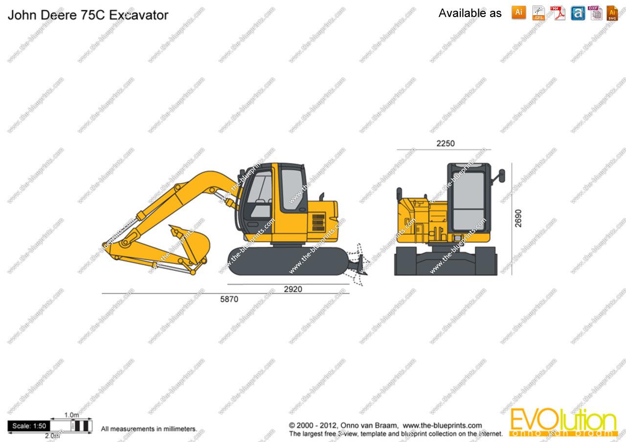 The-Blueprints.com - Vector Drawing - John Deere 75C Excavator