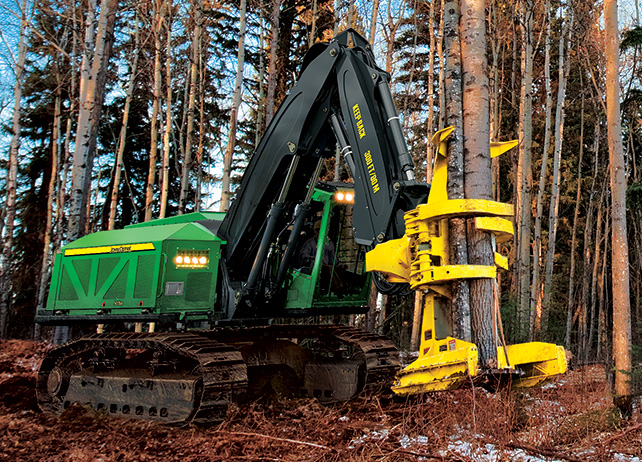 903M Tracked Feller Buncher at work in the forest