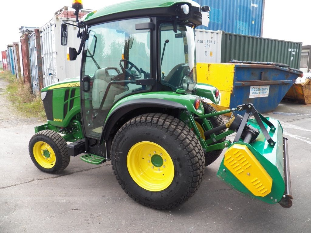 JOHN DEERE 3830 HEAVY DUTY COMPACT TRACTOR,17 HOURS,38HP,CAB,6ft FLAIL ...