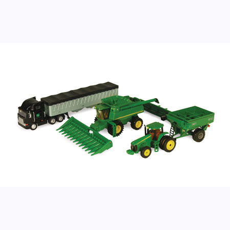 John Deere 1:64 Scale Harvesting Equipment Toy Set