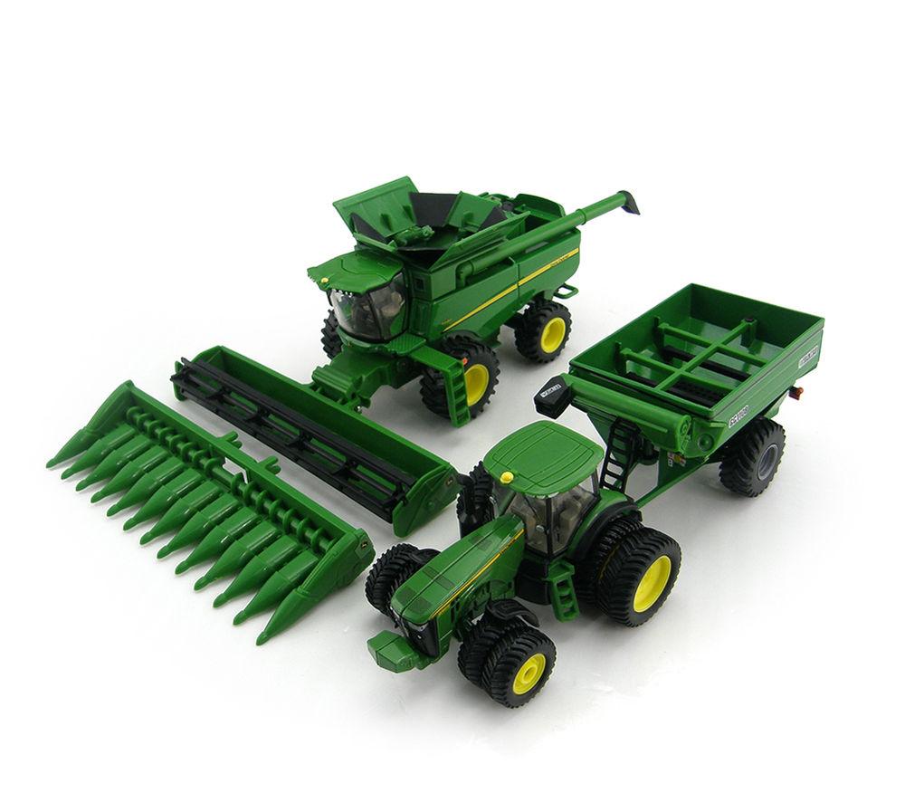 NEW John Deere Harvesting Set (S680 Combine, Tractor & Grain Cart 1/64 ...