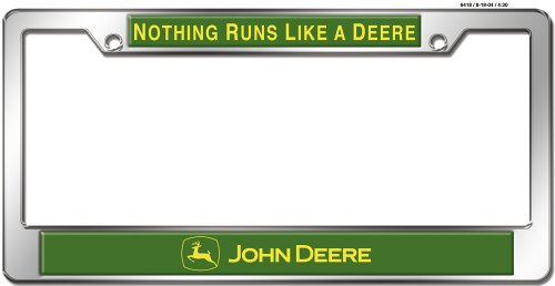 john Deere Chrome License Plate Frame | RunGreen.com