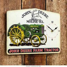 John Deere Farm Tractor Embossed Tin Clock⎜Open Road Brands