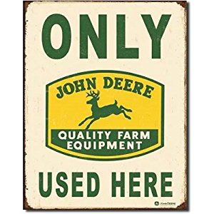 Only John Deere Used Here Tractors Logo Distressed Vintage Tin Sign ...