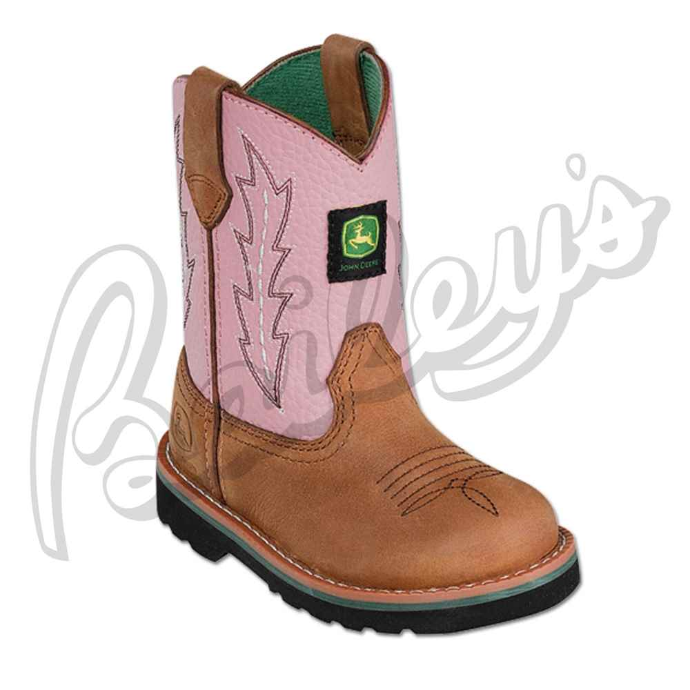 John Deere Jd1185 Baby/Toddler Pink Leather Wellington Boot | Pink ...