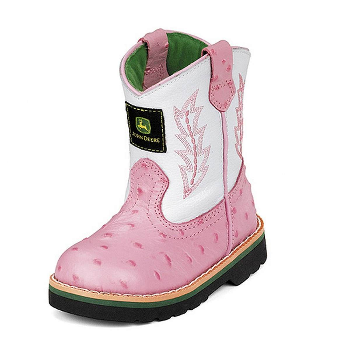John Deere John Deere Girls Pink Ostrich Leather Western Boots Toddler ...