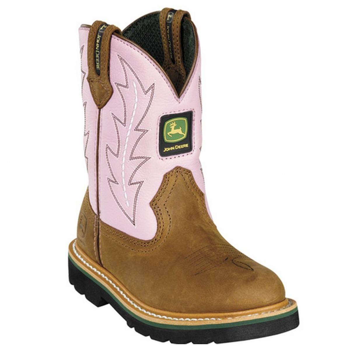 John Deere John Deere Little Girls Pink Leather Top Western Boots Size ...