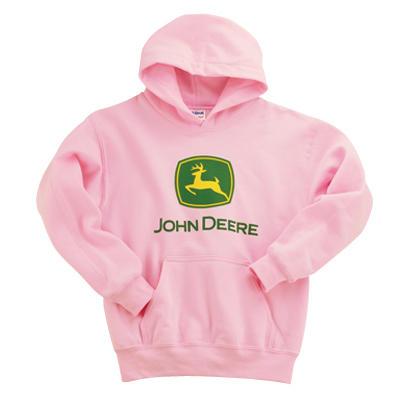 John Deere Youth Girl's Pink Logo Hooded Sweatshirt | WeGotGreen.com