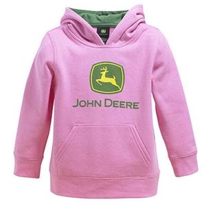 John Deere Toddler Girl's Pink Logo Hooded Sweatshirt | WeGotGreen.com