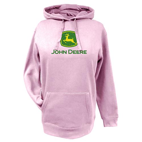 ... John Deere Adult Sweatshirts > John Deere Pink Glitter Logo Hooded