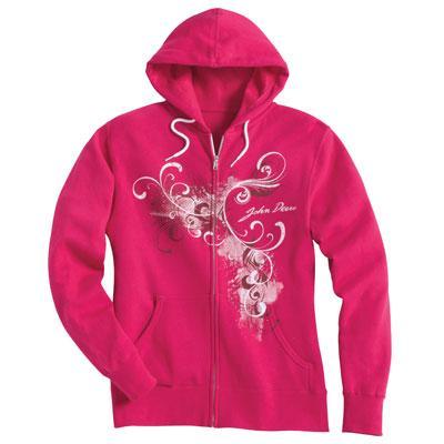 John Deere Ladies' Bright Pink Full Zip Hooded Sweatshirt | WeGotGreen ...