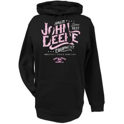 John Deere Women's Hooded Sweatshirt in Black with Pink Glitter Logo ...