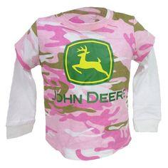 John Deere Pink Camo Long Sleeve Tee with White Sleeves | RunGreen.com