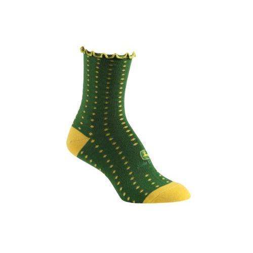 John Deere Green/Yellow 4-10 BBMP637 Ladies Polka Dot Socks Green
