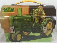 John Deere Domed Tin Lunch Box New Licensed 7 X 3.5 x 5. 5 Inches #2 # ...
