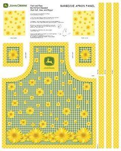 ... about Apron panel John Deere flower sunflower logo cute easy sew
