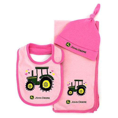 John Deere Baby 3 pc Bib Blanket and Hat Set (Pink Tractor) Apparel ...