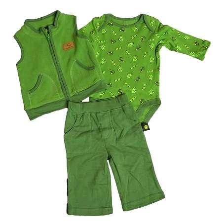 Ownza - John Deere 3 Piece Fleece Vest Layette Set | ThisNext