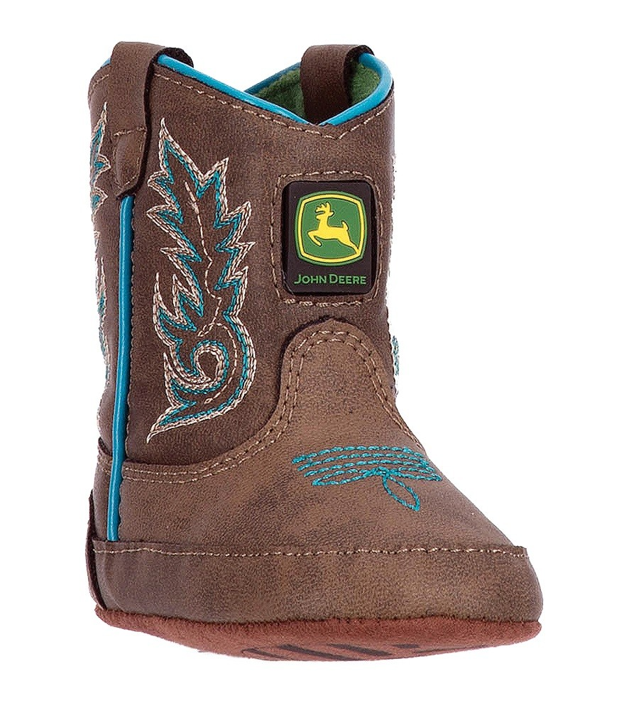 John Deere Babys Distressed/Turquoise Square Toe Boots JD0032 by Dan ...