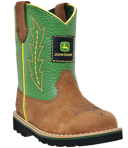 John Deere Boots Infant's Johnny Poppers Tan Crazy Horse With Green ...