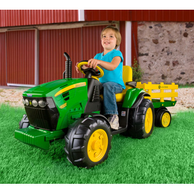 Peg Perego John Deere Ground Force Tractor with Stake-Side Trailer ...