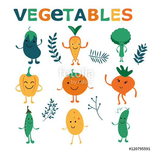 Happy farm vegetables characters collection