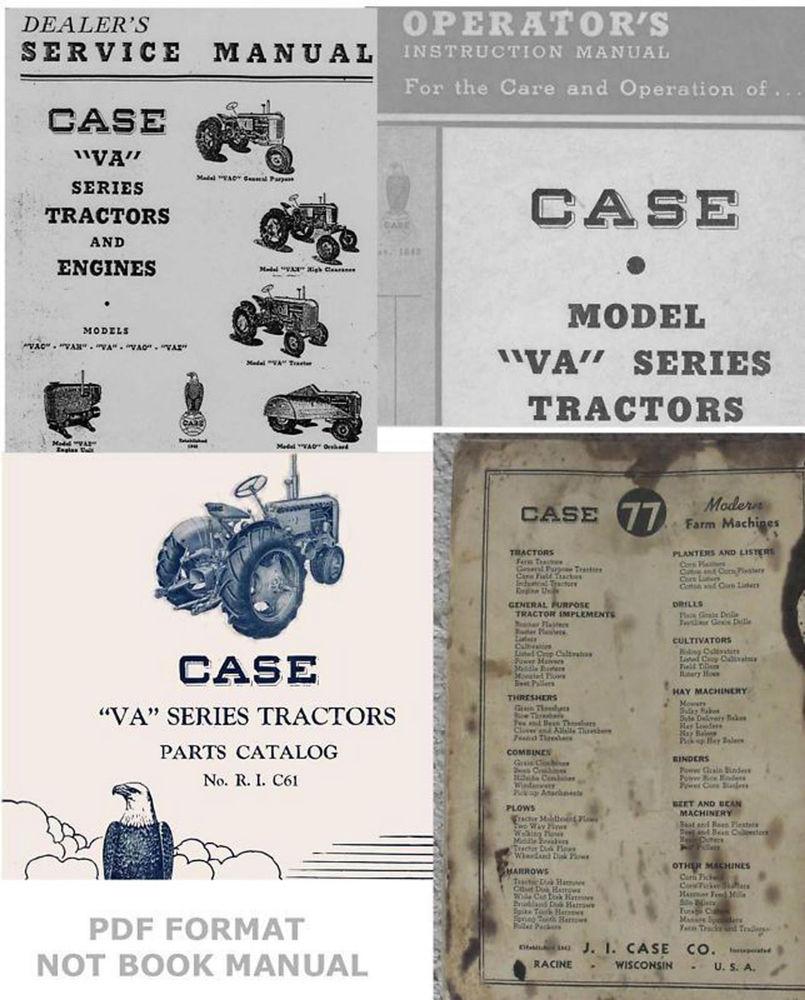 Manuals Case VA VAC VAO VAE VAH Tractors Service Operator's Parts ...
