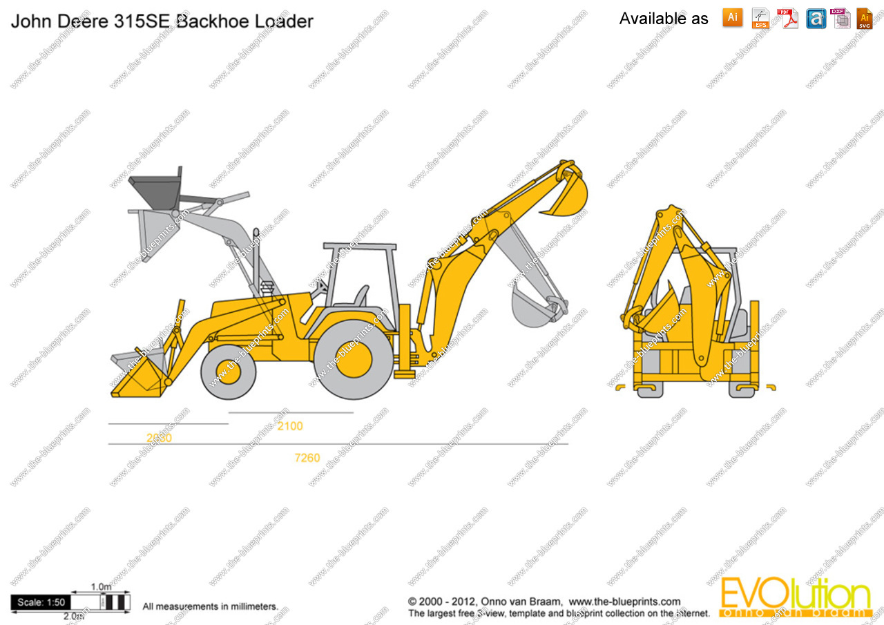 Vector Drawings / John Deere / John Deere 315SE Backhoe Loader