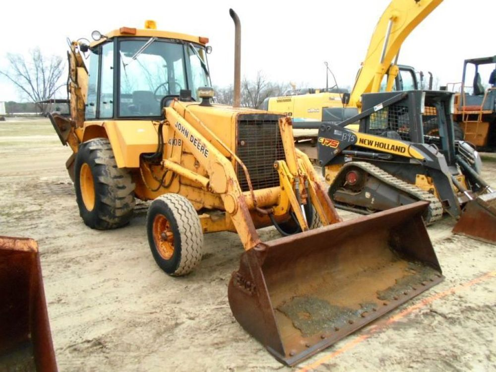JOHN DEERE 410B BACKHOE LOADER TRACTOR ENCLOSED CAB TLB LOW HOURS ...