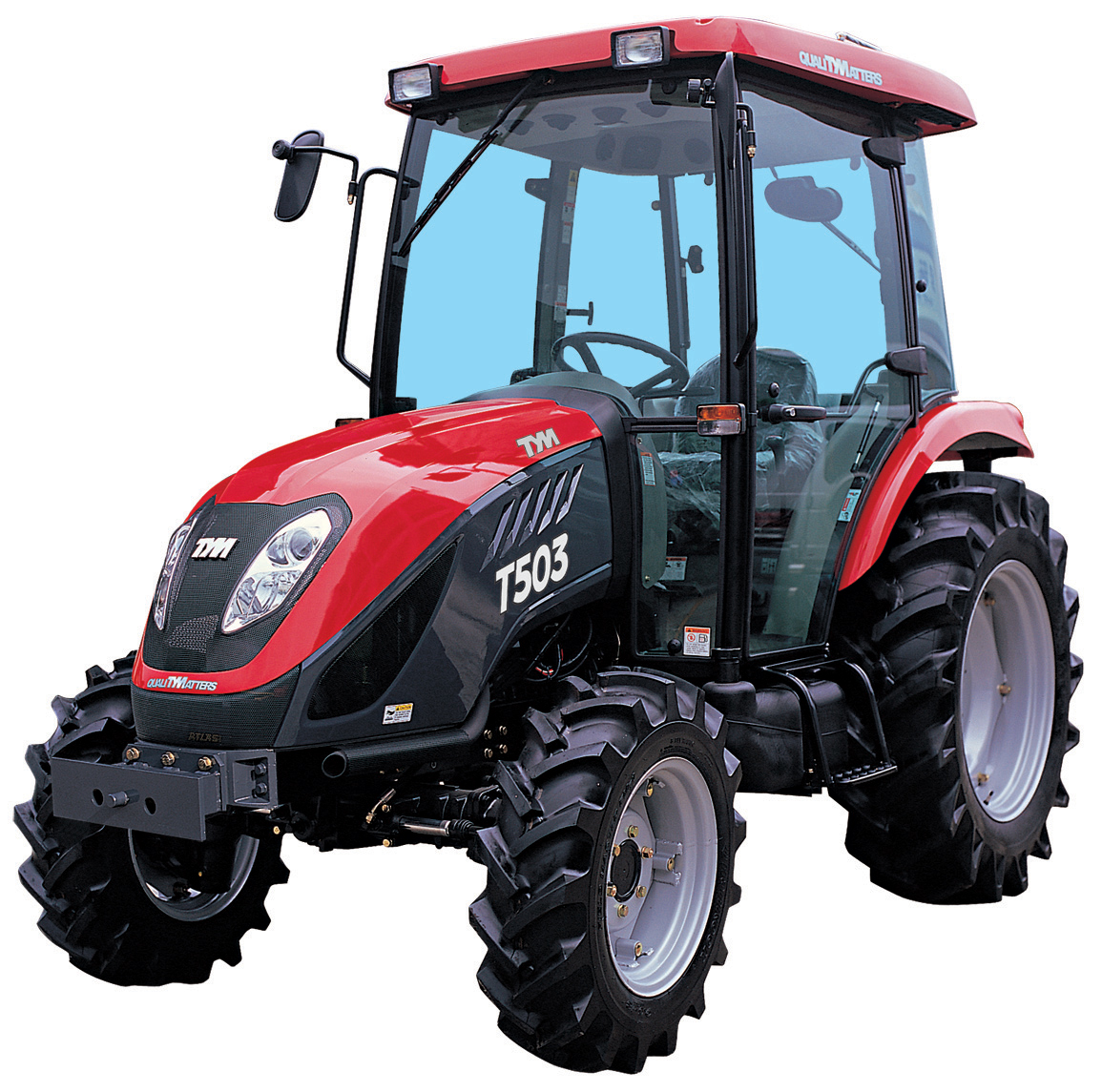 T503 compact tractor with agricultural tires and a heated air ...