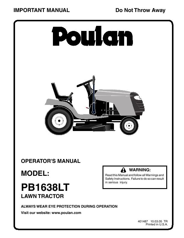 Additional Poulan PB1638LT Lawn Mower Literature