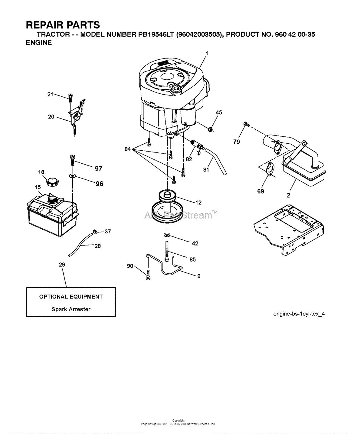 Poulan PB19546LT - 96048001700 (2010-12) Parts Diagram for ENGINE