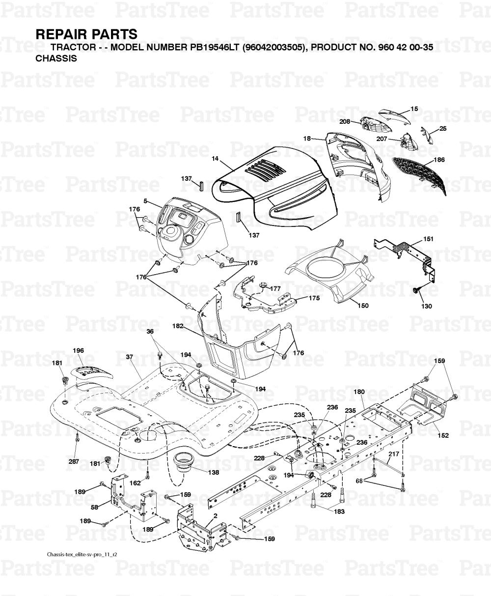 Poulan PB19546LT (96048001700) - Poulan Pro Lawn Tractor (2010-12 ...