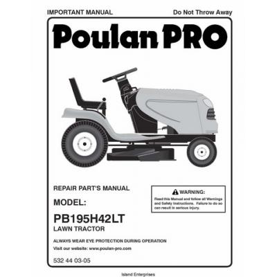 Poulan PRO PB195H42LT (96042013600) Lawn Tractor/Ride Mowers Repair ...