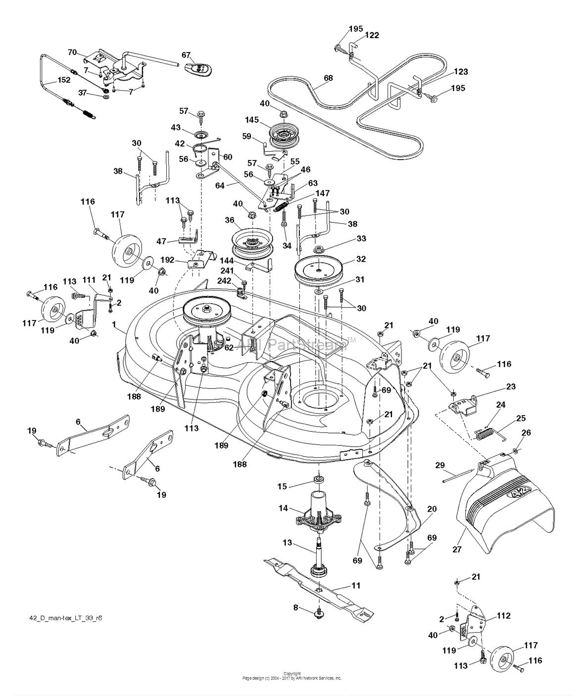Poulan PB22H42YT - 96048005100 (2012-11) Parts Diagram for MOWER DECK ...