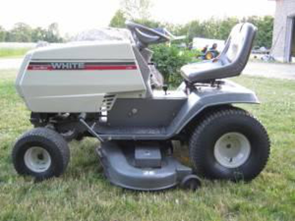 white-lawn-tractor